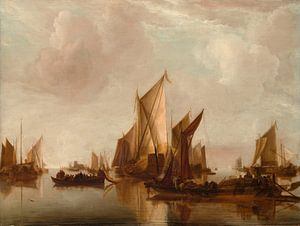 Een Staatsjacht en andere vaartuigen in kalm water, Jan van de Cappelle
