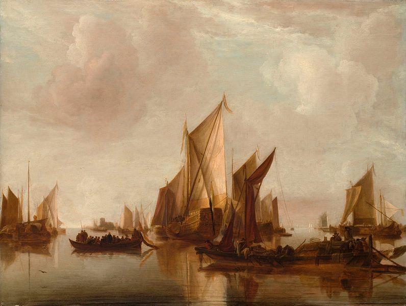 Een Staatsjacht en andere vaartuigen in kalm water, Jan van de Cappelle van Meesterlijcke Meesters