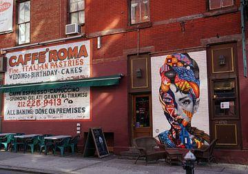 Muurschildering Audrey Hepburn Little Italy