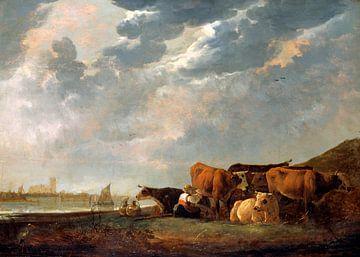 Albert Cuyp. Vieh in der Nähe der Maas, mit Dordrecht in der Ferne