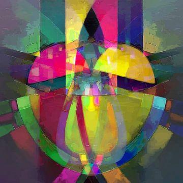 Modernes, abstraktes digitales Kunstwerk Herz in Rot und Gelb von Art By Dominic