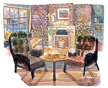 Ruhiger und gemütlicher Heiligabend am Kamin in New York Pub von Markus Bleichner