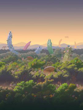 Fantasiewald aus der Spielwelt Terraria (PIXEL ART) von Marco Willemsen