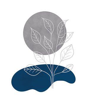 Minimalistische Landschaft mit einer Pflanze neben einem See und einem silbernen Mond von Tanja Udelhofen