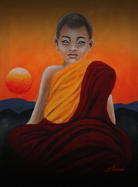 Buddhismus - Little Monk von Iwona Sdunek alias ANOWI