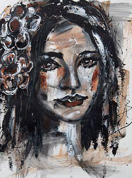 Gemälde Porträt Frau mit Blumen von Bianca ter Riet