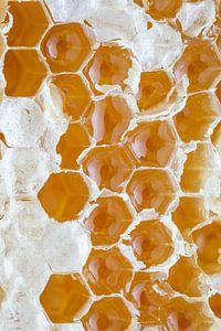 Close-up van een gouden honingraat l Food fotografie