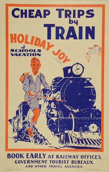 Reclameposter voor een toeristische vakantie met de trein in Nieuw Zeeland, 1933 van Natasja Tollenaar