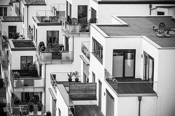 Zwart Wit foto van geblokte huizen