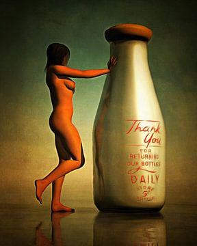 Erotiek  - Naakt met een melkfles