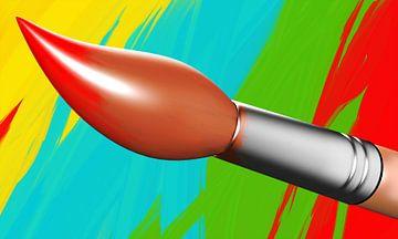 Verf penseel met een geverfde achtergrond van Jan Brons
