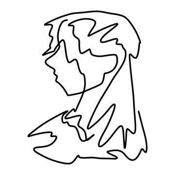 Strichzeichnung Porträt Dame von Emiel de Lange