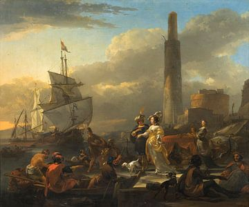 Een havengezicht, Nicolaes Berchem