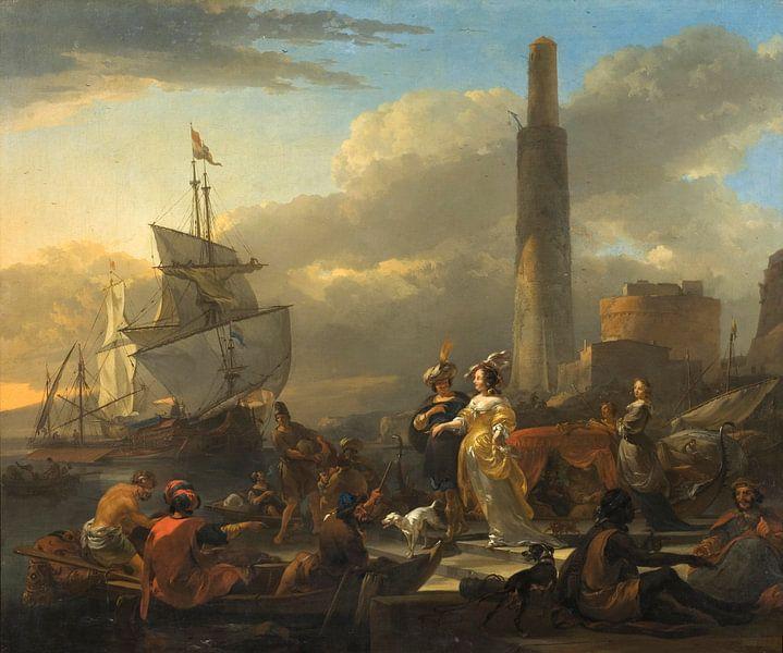 A Harbour Scene, Nicolaes Berchem von Meesterlijcke Meesters