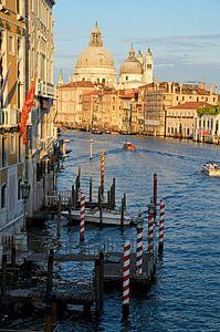 Verticaal uitzicht vanaf Ponte dell'Accademia in Venetie van
