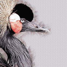 Portret van een kraanvogel (kunstwerk) van Art by Jeronimo