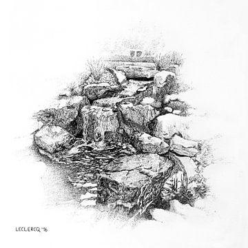 Landschap kleine rivier en steen van Devon Leclercq