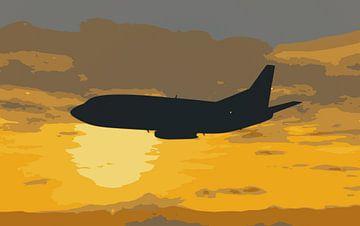 Boeing 732 zonsondergang vliegen van Jan Brons