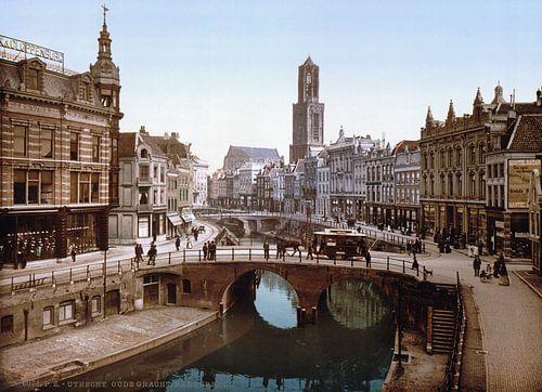 Oude Gracht en Bakkerbrug, Utrecht von Vintage Afbeeldingen