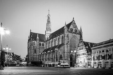Grote Mark in Haarlem - zwart wit