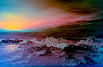 Zonsondergang in de bergen 16 van Angel Estevez