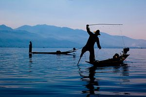 Vissers op Inle Lake, Myanmar