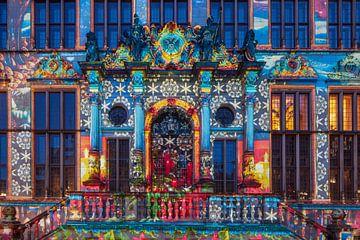 Toegangsportaal, Verlichte Schütting op de marktplaats Bremen, Bremen, Duitsland, Europa van Torsten Krüger