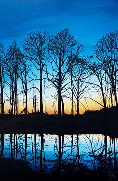 Schilderij bomen zonsopgang sur Bianca ter Riet