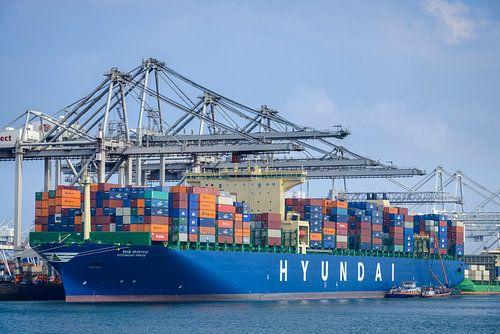 Container schip in de haven van Sjoerd van der Wal