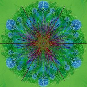Caleidoscoop, groen met blauw van