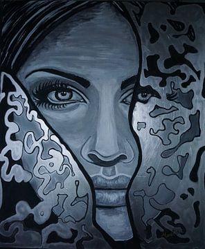 Mysteriöse Frau - schwarz-weißes Silber - Augen - Malerei von Marielistic-Art