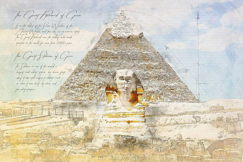 Große Sphinx von Gizeh + Sphinx,  Ägypten von Theodor Decker
