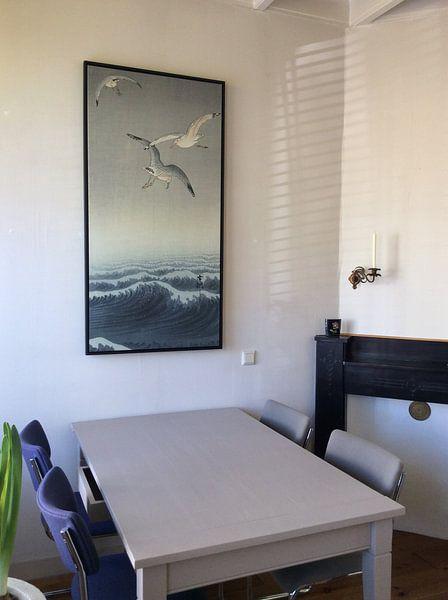 Klantfoto: Drie meeuwen van Ohara Koson, op canvas