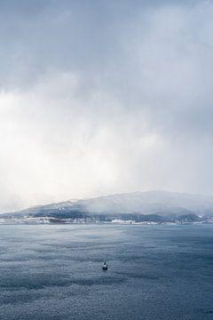 Boot op de mistige zee bij Hakodate van Mickéle Godderis