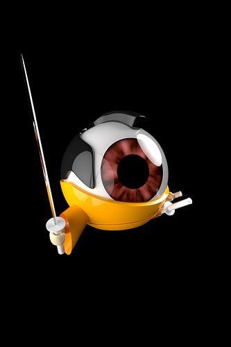 Samurai-Auge mit Katana Comic von Jörg Hausmann