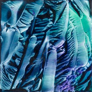 Encaustic Art groen zwart blauw zeegroen paars van Erica de Winter