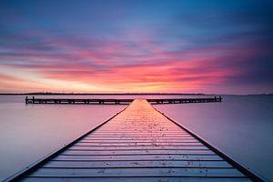 Zonsondergang bij steiger Vrouwenpolder Zeeland  van