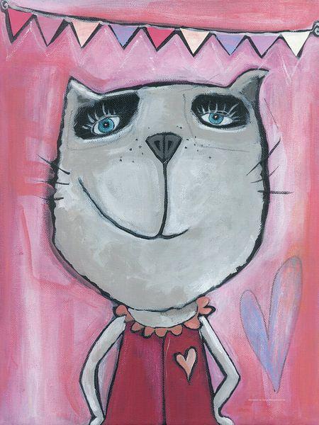 Kat Roze - Katten - Schilderij voor Kinderen van Atelier BuntePunkt
