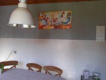 Klantfoto: Kippen op stok van Vrolijk Schilderij, op canvas