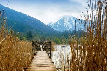 Houten steiger met poort in de Tegernsee, besneeuwde bergen op de achtergrond, landschap in de beroe van Maren Winter