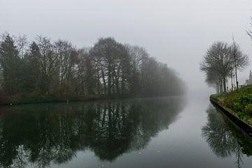 paysage brumeux au bord de la rivière