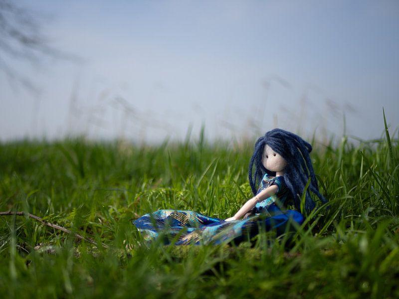 Pop met blauw haar in het gras op een mooie voorjaarsdag van Margreet van Tricht