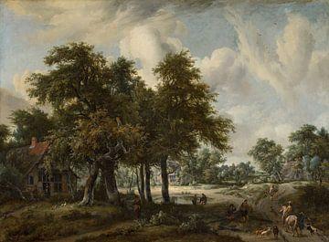 Waldlandschaft mit Bauernhäusern, Meindert Hobbema