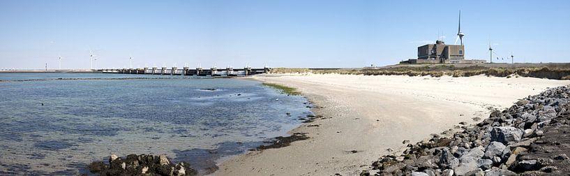 Panorama foto van stormvloedkering Neeltje Jans van W J Kok