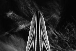 Zwart-wit foto van Beurs WTC Rotterdam (Beursgebouw World Trade Center)