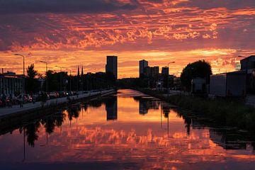 Sonnenuntergang Stadtkanal Eindhoven von Mitchell van Eijk