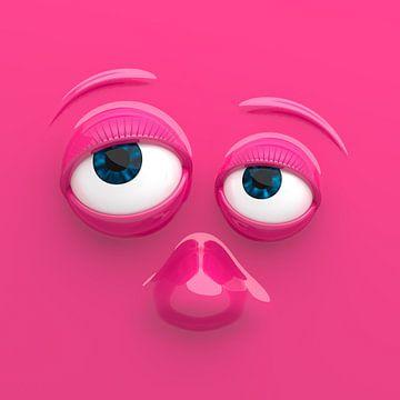 Grappig gezicht roze van Jörg Hausmann