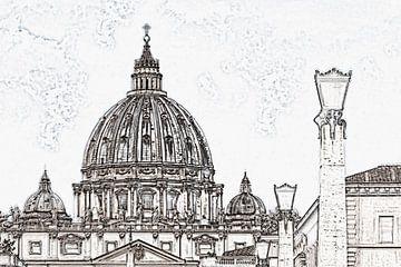 Koepel van de Sint-Pietersbasiliek in Rome, Italië van Gunter Kirsch
