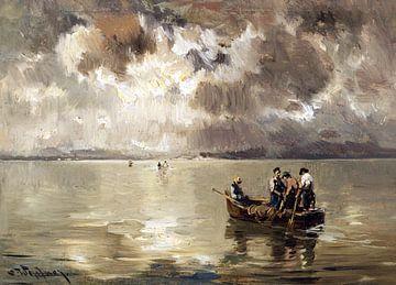 Aufziehendes Gewitter über dem Chiemsee, JOSEPH WOPFNER, Um 1900