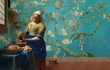 Melkmeisje van Vermeer met Amandel bloesem behang van Gogh von Lia Morcus